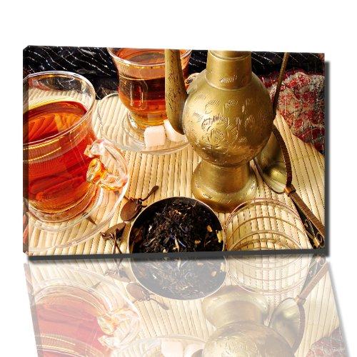 Teekanne mit Tassen Bild auf Leinwand -- 60x40 cm fertig gerahmte Kunstdruckbilder als Wandbild - Billiger als Ölbild oder Gemälde - KEIN Poster oder Plakat