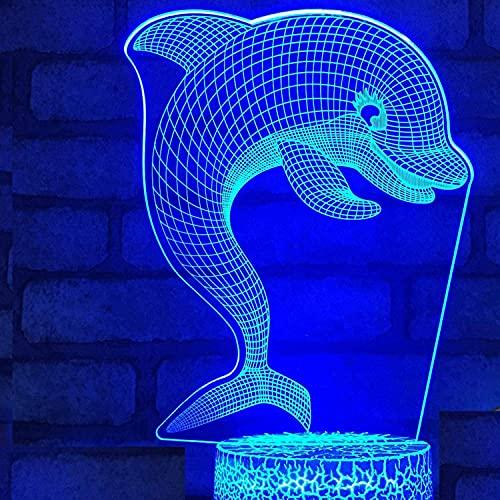 DCLINA 3D Dolphin Fish Night Light 7 Colores Lámpara Humor Touch USB Mesa Escritorio LED Decoración Niños Presente Niños Fiesta en casa Regalo cumpleaños Juguetes