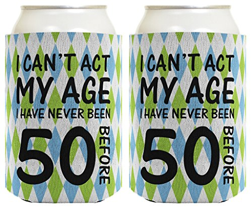 50th Birthday Gifts For All Can't Act Age Never 50 2 Pack Can Coolie Drink Coolers Coolies Argyle