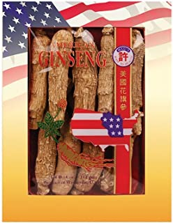 Hsu's Ginseng 100-4 | Long Jumbo | Cultivated American Ginseng Direct from Hsu's Wisconsin Farm | One Free Single American Ginseng Tea Bag | 4oz box, 西洋参, B00309X5UK