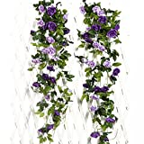 JUSTOYOU 2 Pack 7.8FT 13 Cabezas de Doble Color Artificial Falso Rose Garland Vides Colgando Flores de Seda para la decoración de la Pared de la Boda al Aire Libre Badroom (Púrpura)