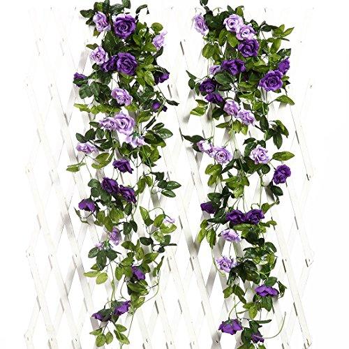 JUSTOYOU 2pcs 7.8FT zweifarbige künstliche gefälschte Rosengirlande Wein hängen Seide Blume künstliche Blume für Außen- und Innenhochzeit Wand schlechte Dekoration (Lila)