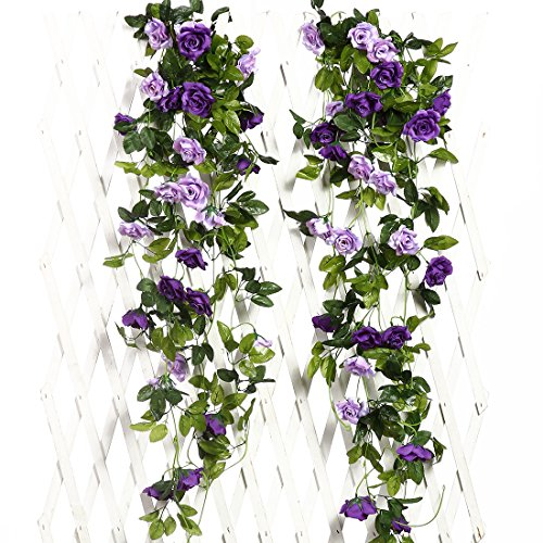 JUSTOYOU 2pcs 7.8FT Double Color Artificial Fake Rose Garland Vines Hanging Silk Flowers Artificial Flower for Outdoor Indoor Wedding Wall Badroom Decoration (Purple)
