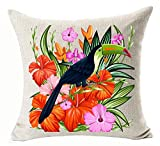"Watercolor Oil Painting Hand-painted Tropical Colorful Flowers Leaves Birds Toucan Parrot Foliage Plant Holiday Gift Cotton Linen Decorative Throw Pillow Case Cushion Cover Square 18 ""X18 """