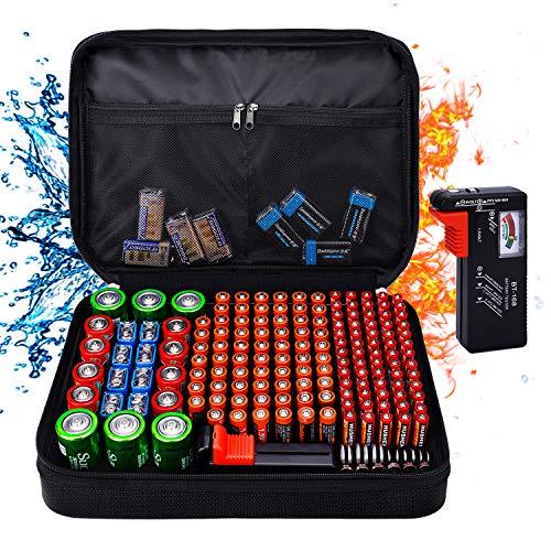 Batterie Aufbewahrungsbox Tamfile Batterie Organizer mit Batterietester BT-168 für 172 Batterien, feuerfeste und wasserdichte Tragetasche AA-AAA C D 9V (Batterien sind nicht im Lieferumfang enthalten)
