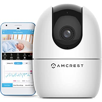 Amcrest 1080P Smart Home WiFi Camera, Baby Monitor, AI Human Detection, Motion-Tracking, Indoor Pet, Dog, Nanny Cam w/ 2-Way Audio, Phone App, Pan/Tilt Wireless IP Camera, Night Vision, ASH21-W White