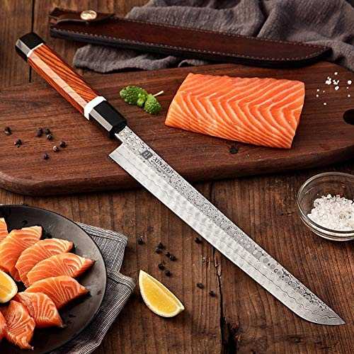 Sushi Cuchillo 10.5 '' Cuchilla 110 Capas Acero de Damasco Sushi Sashimi de salmón Pescado fileteado de Cocina del Cuchillo del Cocinero Octogonal Mango