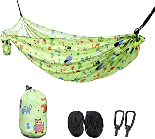 Browint Kids Hammock for Camping, Child Toddler Hammocks for Backyard Indoor Garden Outdoor Travel, Printed Parachute Nylon, Lightweight Portable Hammock with Tree Straps