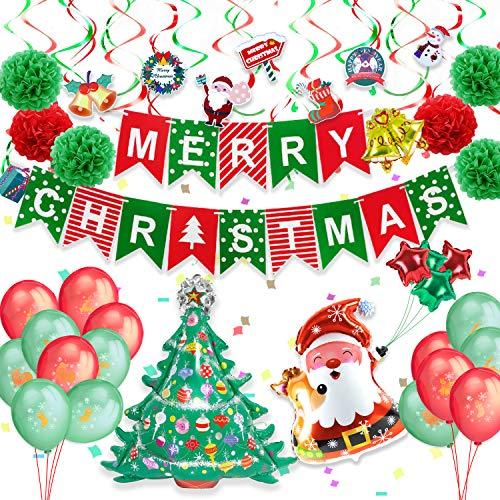 Pushingbst Decoración Navideñas, Decoraciones de Fiesta de Navidad con Pancarta, Globos de Navidad (Santa, árbol de Navidad, Pentagrama, Mini Campana), Globo de látex Impreso Pompoms para Navideñas