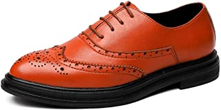 RongAi Chen Business Oxford for Men Formal Shoes Lace up Microfiber Leather Experienced Stitched Waxy Shoelaces Wingtip Brogue Carving Pointed Toe (Color : Yellow, Size : 7.5 UK)