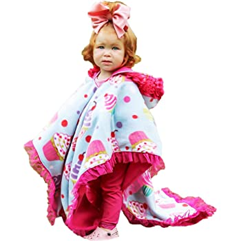 Kids Car Seat Poncho Pink Cupcake for Girls Toddlers Infants Traveling Cover Reversible Warm Blanket Safe Use OVER Seat Belts