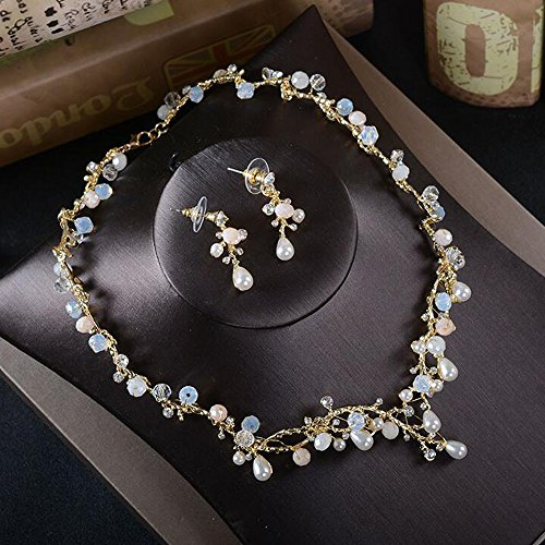 Missgrace Women Fashion Rhinestone Earrings and Rhinestone Necklace Elegant Jewelry Set Bridal Wedding Party Hair Jewelry Bridal Statement Necklace