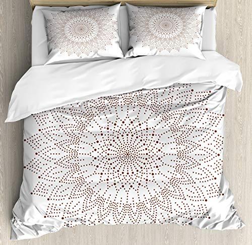 ABAKUHAUS Brown Mandala Funda Nórdica, Arte Encaje puntillista, Estampado Lavable, 3 Piezas con 2 Fundas de Almohada, 230 cm x 220 cm, Blanco y marrón