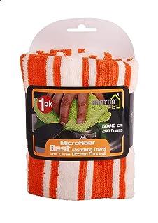 Mintra Microfiber Kitchen Cleaning Towel, 60x40 Cm - Orange White