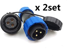 SD20 Waterproof 3pin Connector, IP68 Circular LED Power Cable Plug Socket Heavy Industrial Connector (3pin, Panel Mount x 2set)