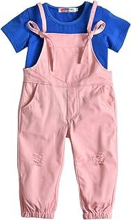 ee49751c8aa0 Kids Little Girls Strap Ripped Pocket Harem Jumpsuit Tshirt Overalls Outfit  Set Pink