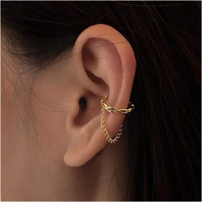 SHOYY Fashion Cirlcle Earcuff Gold Color Link Chain Tassel Clip On Earrings Fake Piercing Earclip Non Pierced Ear Cuff (Metal Color : A)