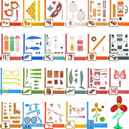25 Moldes de Dibujo de Impresora 3D Plantillas de Papel de Impresión Plantilla de Pintura Graffiti Molde de Papel de Dibujo DIY con 2 Tableros de Copia Transparentes para Pluma Impresión 3D
