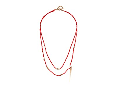 AllSaints Beaded 2 Row Necklace (Red) Necklace