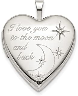 925 Sterling Silver 20mm Love To The Moon Diamond Heart Photo Pendant Charm Locket Chain Necklace That Holds Pictures Fine Jewelry Gifts For Women For Her