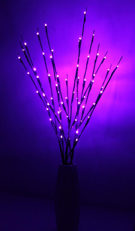 Fantasee 3 Pack 76cm Branch Twig Light LED Tree Branches Light Flexible Branch Decoration Light for Indoor Shop Windows Vase Table Living Room (Pack of 3, Purple)