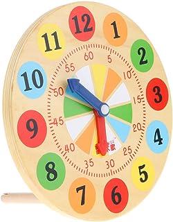 B Blesiya 子供 幼児 学校教育援助用 時間を識別する 木製時計 学習おもちゃ