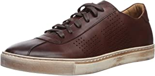 Mens Leather Luxury Lace Up Perf Detail Sneaker