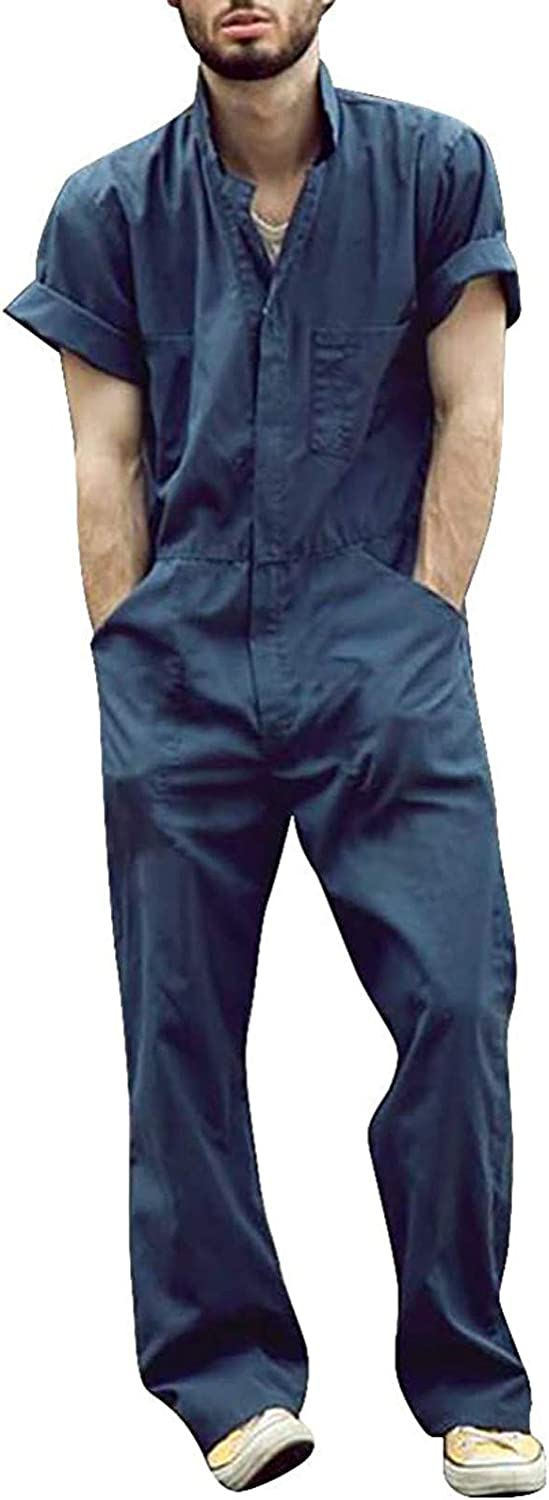 MODOQO Mens Romper Button Down Short One Sleeve San Diego Mall Year-end gift Jumpsuit Piece W