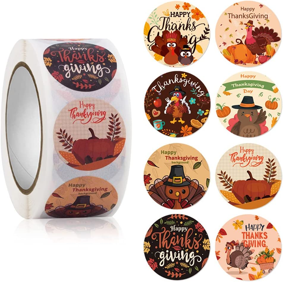 Turkey Happy Thanksgiving Stickers 500Pcs 1.0 Inch Autumn Turkey Label Stickers with 8 Style Turkey Patterns Great Thanksgiving Party Favor Self-Adhesive Sticker Roll for Kids Thanksgiving Card Decor