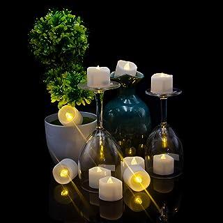 LEDキャンドルライト Helian 癒しの灯り クリスマス/パーティー/結婚式/誕生日用 室内 室外飾り 暖色光 5時間連続輝く タイマー機能(12個セット)