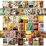 Kit de 50 Piezas Collages de Pared Vintage Decoración de Habitación Retro de Artes de Pared de Imágenes Estéticas Pinturas Posters de Pared Estética para Casa, 4 x 6 Pulgadas