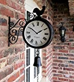 Westminster Cockerel And Bell Outdoor Garden Clock With Station Bracket Double Sided