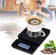 Extaum Balança digital de cozinha,Balança de Cozinha Digital Balança de Alimentos Balança de Café com Temporizador 3 kg / ...