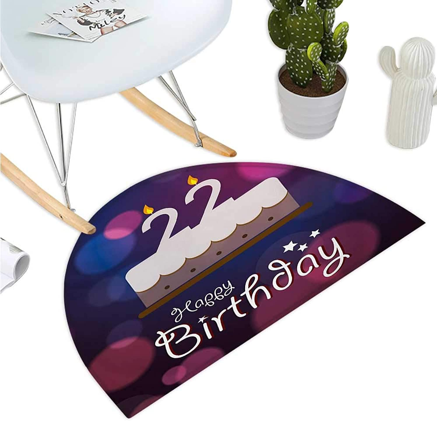 22nd Birthday Semicircular Cushion Vibrant Greeting Bokeh Style Backdrop and Surprise Party Cake Image Bathroom Mat H 47.2  xD 70.8  Fuchsia Dark bluee