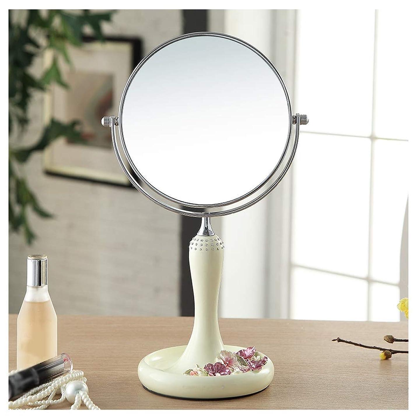 頂点出席するタバコ化粧鏡3x倍率コンチネンタル両面樹脂ファッションラブリーポータブルプリンセスミラー円形HDバニティミラー360°;回転(色:A、サイズ:30 * 14.5cm)