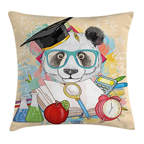 Nextchange Doctor Panda Lfie Bril Boek Vergrootglas Alarm Klok Apple Calculator Experimentaliseren Katoen Kussensloop Decoratie Voor Sofa Bed Stoel Auto (Twee Zijden) Kussen Cover Grootte 18x18 IN