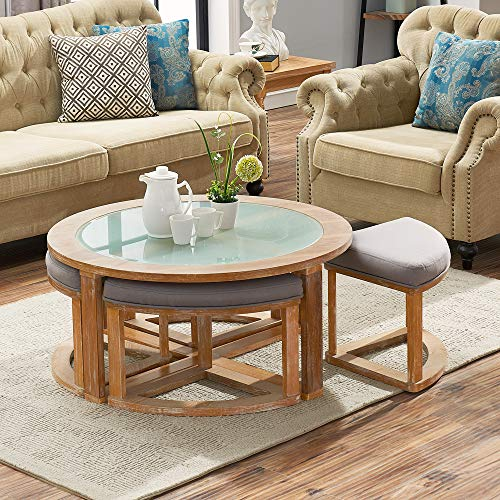 O K Furniture Round Coffee Table With 4 Nesting Stools Cocktail Height Coffee Table With Frosted Glass 5 Pieces Set Natural Buy Online In Bermuda At Bermuda Desertcart Com Productid 70431594