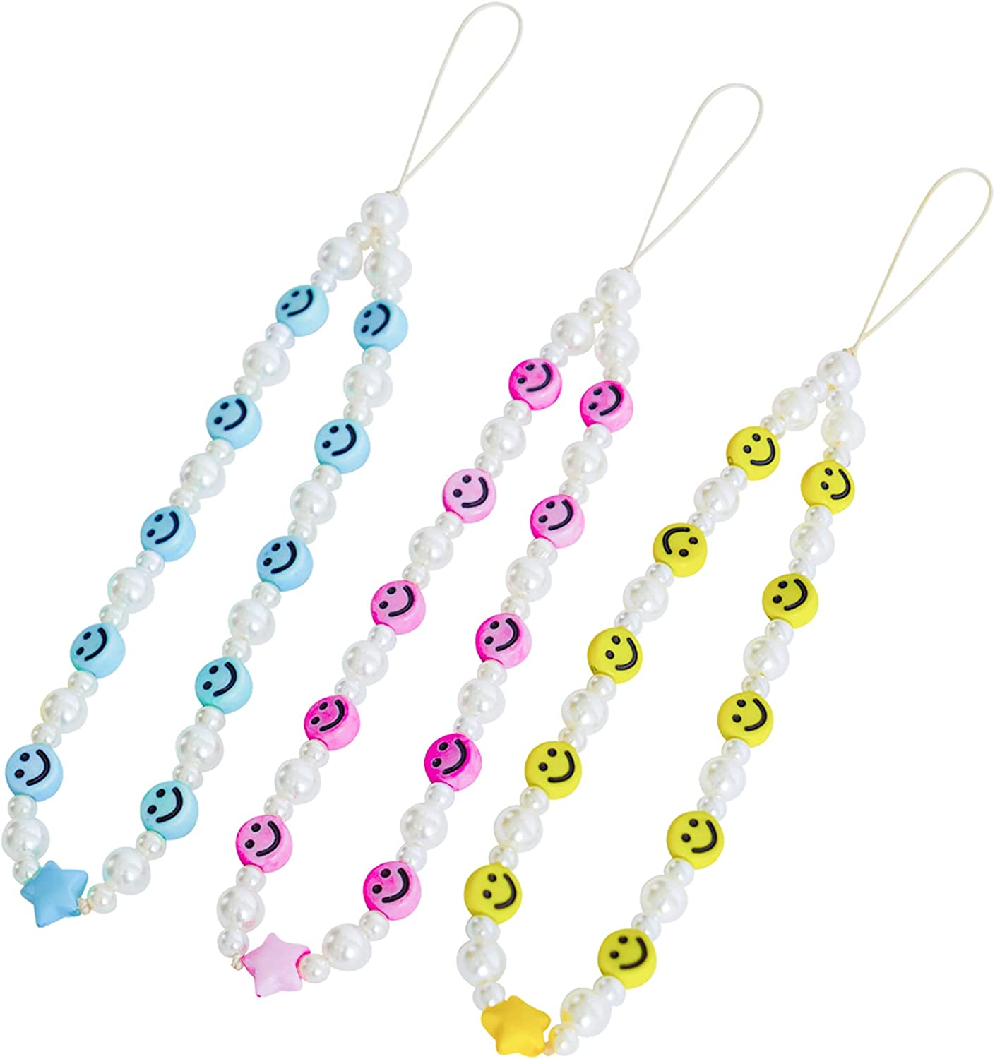 3PCS Beaded Phone Max 43% OFF Strap Smiley Lanyard Department store Y2K Wrist 90S Face
