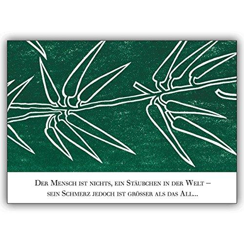 1 Trauerkarte: Trauerkarte: Disteln in hoffendem Grün mit Beileidsspruch – tröstende Beistandskarte um den Hinterbliebenen mit tiefem Mitgefühl zu kondolieren