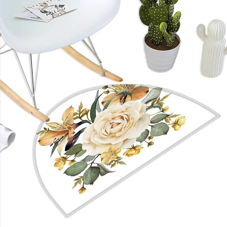 pink Semicircle Doormat Romantic Floral Arrangement Bridal Bouquet Corsage Spring Wedding Theme Halfmoon doormats H 35.4  xD 53.1  Pale orange Cream Green