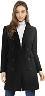 Allegra K Women's Long Jacket Notched Lapel Double Breasted Trench Coat