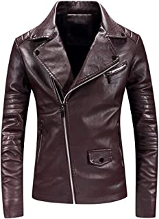 Men Motorcycle Leather Jacket Beautyfine Winter Autumn Solid Color Zipper Long Sleeve Coats Tops Punk Style