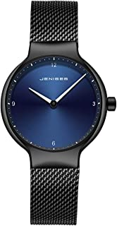 Men's Ultra-Thin 6mm Watch, Stainless Steel Slim Men Watch,Men's Fashion Minimalist Quartz Watch,Blue/Black Face Black Milanese Mesh Band