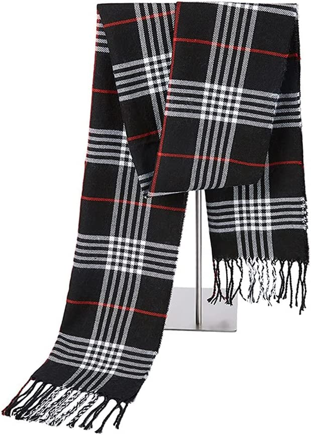 ZYKBB Autumn and Winter Fashion New Men's Imitation Cashmere Scarf Warm Tassel Plaid Shawl (Color : D, Size : 32cm x 190cm)