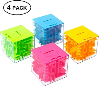 ThinkMax Money Maze Puzzle Box for Kids and Adults - Unique Way to Give Gifts for People You Love - Fun and Inexpensive Game Challenge for Children Birthday Christmas Gag Gifts (4 Pack)