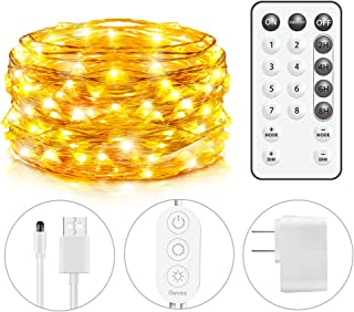 GOVEE USB String Light, 33Ft String Light 100 LEDs 8 Scence Modes 4 Timing Options Waterproof Flexible Fairy Light with Remote Control for Home Patio Party Wedding Festivals- Warm White