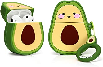 LEWOTE Airpods Silicone Case Cover Compatible for Apple Airpods 1&2[Funny Design][Best Gift for Girls or Couples](Smile Avocado)
