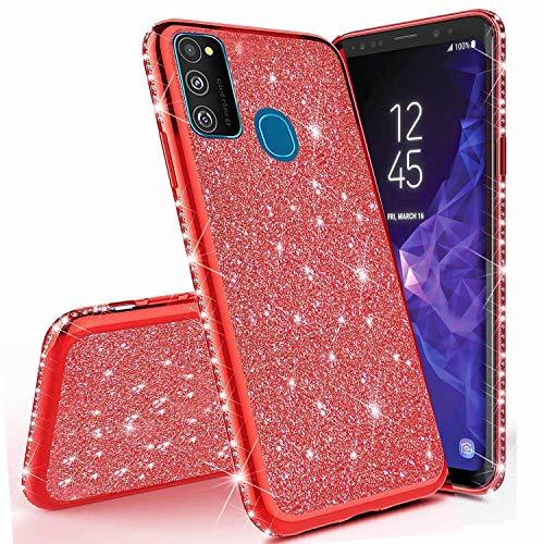 Miagon für Samsung Galaxy M21 Glitzer Hülle,Bling Überzug Glänzend Strass Diamant Weich TPU Silikon Handy Hülle Etui Tasche Schutzhülle Case Cover