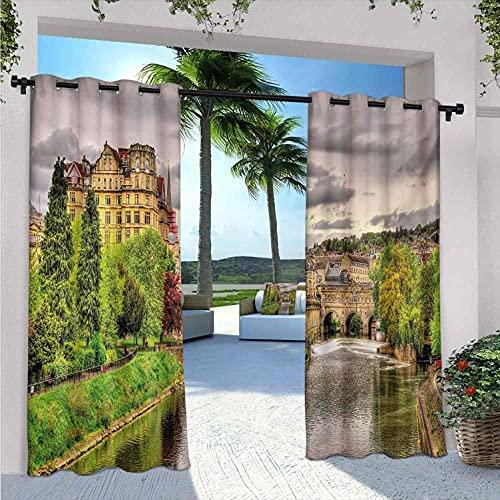 Tende da esterno per patio, impermeabile, a tema natura, vista sulla città del bagno sul fiume Avon, in Inghilterra, stampa digitale, adatte per padiglioni terrazza, 172 x 200 cm, verde felce