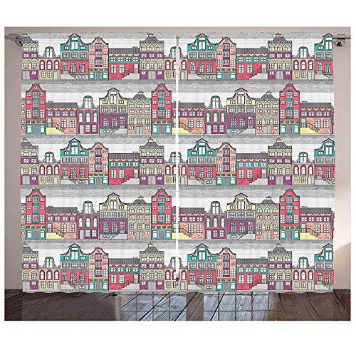 MUXIAND Hollandse Gordijnen Traditionele Kleurrijke Amsterdam Huizen Schets Stijl Architectuur Thema Illustratie Woonkamer Slaapkamer Raam